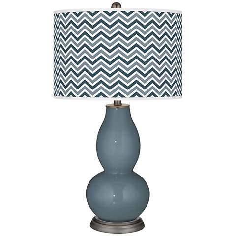 Smoky Blue Narrow Zig Zag Double Gourd Table Lamp