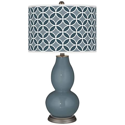 Smoky Blue Circle Rings Double Gourd Table Lamp