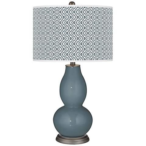 Smoky Blue Diamonds Double Gourd Table Lamp