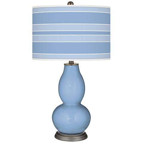 Placid Blue Bold Stripe Double Gourd Table Lamp