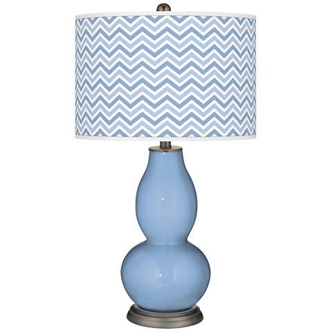 Placid Blue Narrow Zig Zag Double Gourd Table Lamp