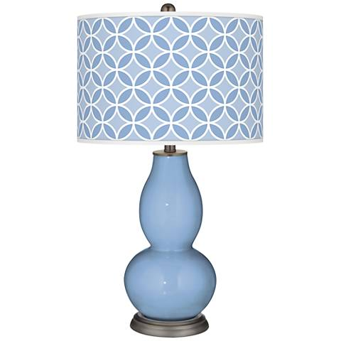 Placid Blue Circle Rings Double Gourd Table Lamp