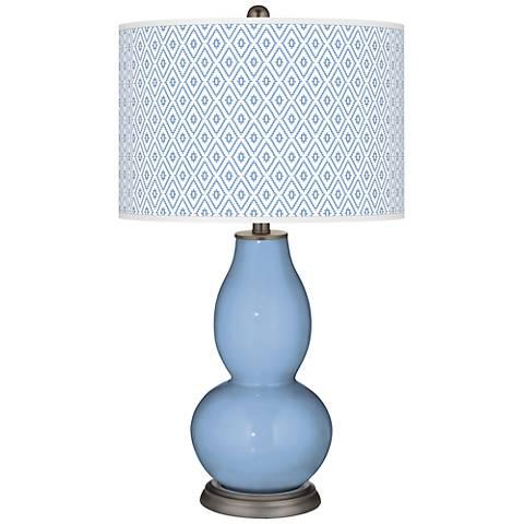 Placid Blue Diamonds Double Gourd Table Lamp