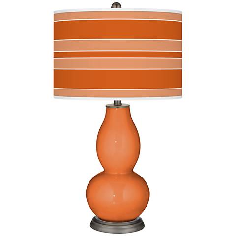 Celosia Orange Bold Stripe Double Gourd Table Lamp