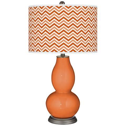 Celosia Orange Narrow Zig Zag Double Gourd Table Lamp