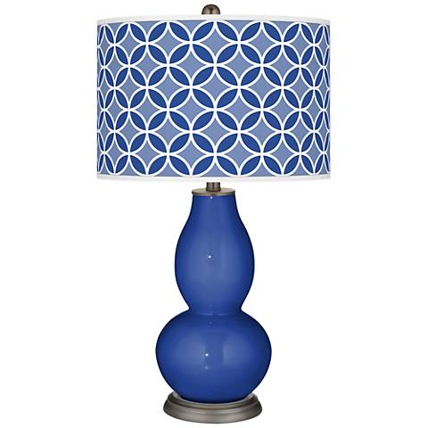 Dazzling Blue Circle Rings Double Gourd Table Lamp
