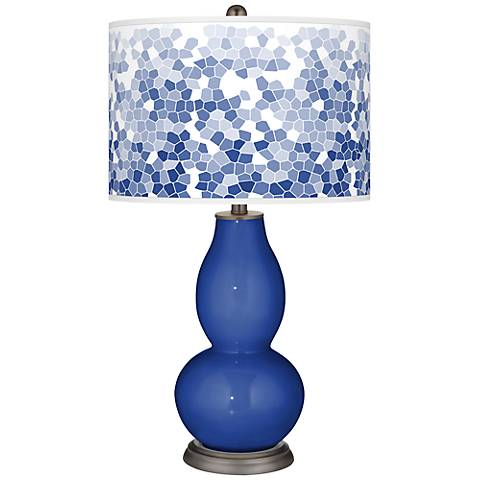 Dazzling Blue Mosaic Giclee Double Gourd Table Lamp