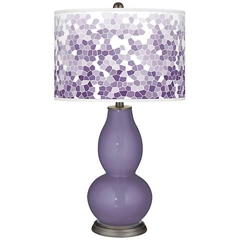 Purple Haze Mosaic Giclee Double Gourd Table Lamp