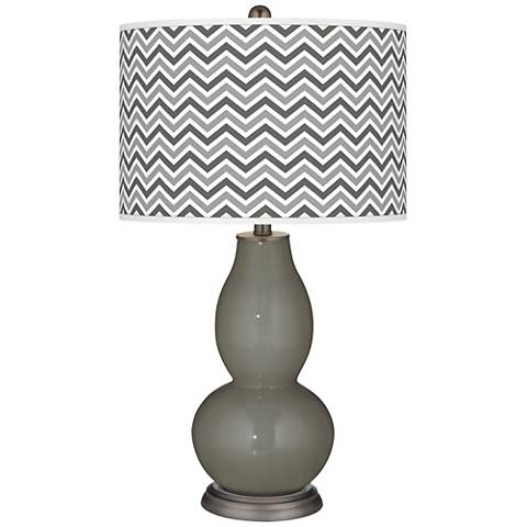 Gauntlet Gray Narrow Zig Zag Double Gourd Table Lamp