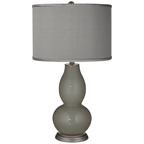 Gauntlet Gray - Gray Faux Silk Double Gourd Table Lamp
