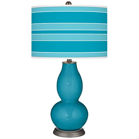 Caribbean Sea Bold Stripe Double Gourd Table Lamp