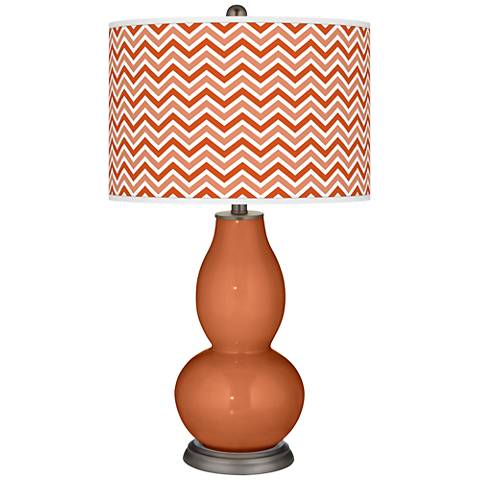 Robust Orange Narrow Zig Zag Double Gourd Table Lamp
