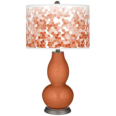 Robust Orange Mosaic Giclee Double Gourd Table Lamp