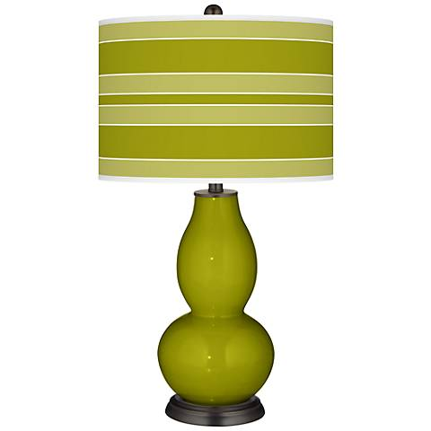 Olive Green Bold Stripe Double Gourd Table Lamp