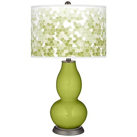 Parakeet Mosaic Giclee Double Gourd Table Lamp