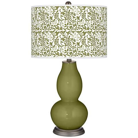 Rural Green Gardenia Double Gourd Table Lamp