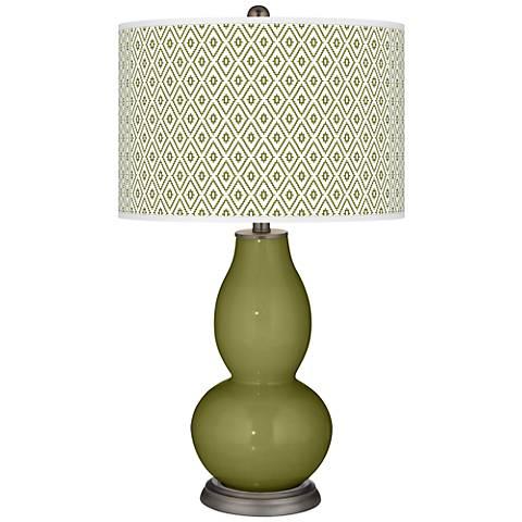 Rural Green Diamonds Double Gourd Table Lamp