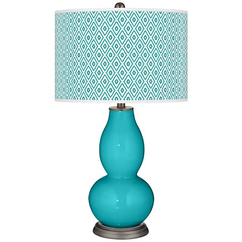 Surfer Blue Diamonds Double Gourd Table Lamp