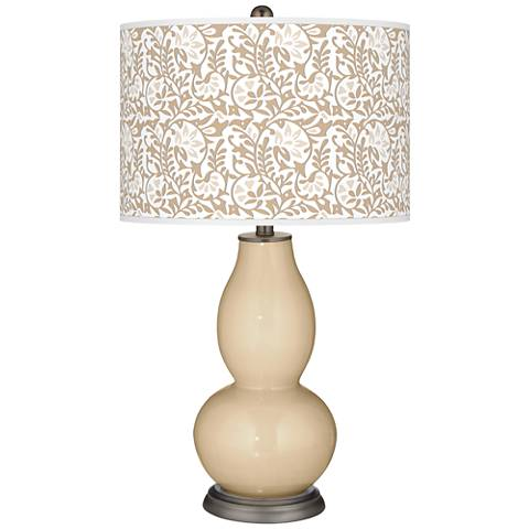 Colonial Tan Gardenia Double Gourd Table Lamp