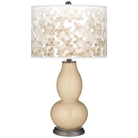 Colonial Tan Mosaic Giclee Double Gourd Table Lamp