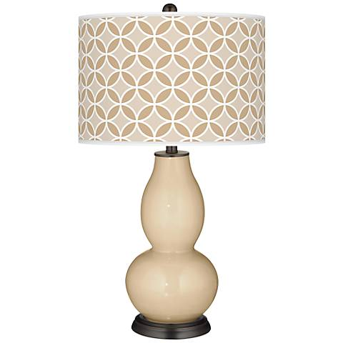 Colonial Tan Circle Rings Double Gourd Table Lamp