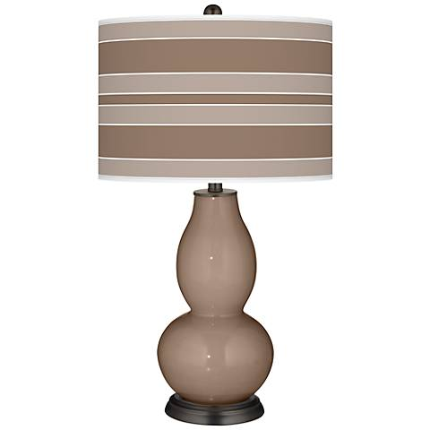 Mocha Bold Stripe Double Gourd Table Lamp