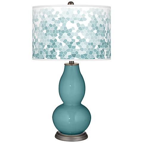 Reflecting Pool Mosaic Giclee Double Gourd Table Lamp