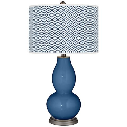 Regatta Blue Diamonds Double Gourd Table Lamp