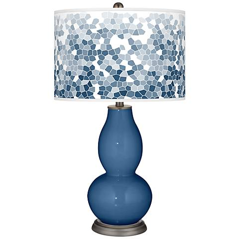 Regatta Blue Mosaic Giclee Double Gourd Table Lamp