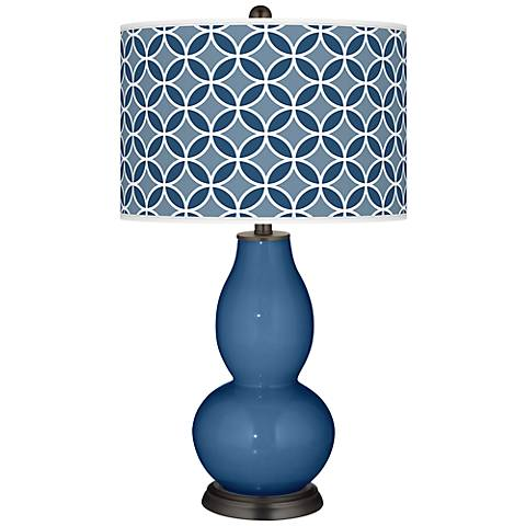 Regatta Blue Circle Rings Double Gourd Table Lamp