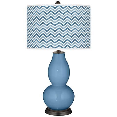 Secure Blue Narrow Zig Zag Double Gourd Table Lamp