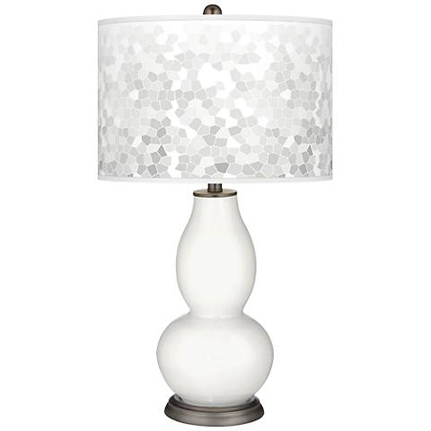 Winter White Mosaic Giclee Double Gourd Table Lamp