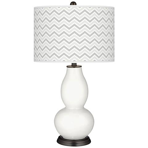 Winter White Narrow Zig Zag Double Gourd Table Lamp