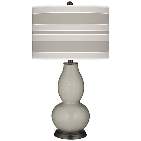 Requisite Gray Bold Stripe Double Gourd Table Lamp