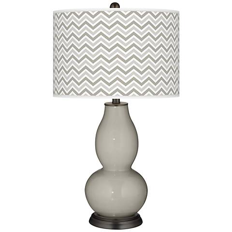 Requisite Gray Narrow Zig Zag Double Gourd Table Lamp