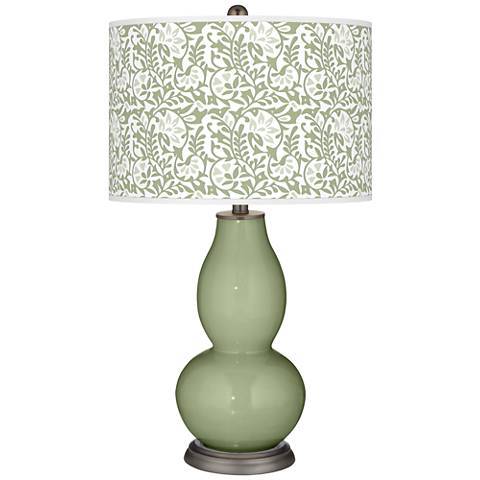 Majolica Green Gardenia Double Gourd Table Lamp