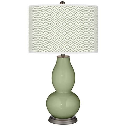 Majolica Green Diamonds Double Gourd Table Lamp