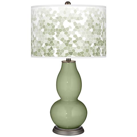 Majolica Green Mosaic Giclee Double Gourd Table Lamp