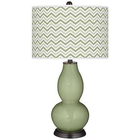 Majolica Green Narrow Zig Zag Double Gourd Table Lamp