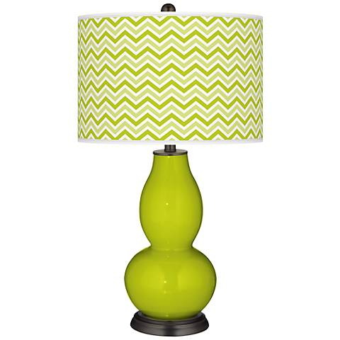 Pastel Green Narrow Zig Zag Double Gourd Table Lamp