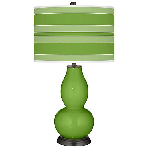 Rosemary Green Bold Stripe Double Gourd Table Lamp