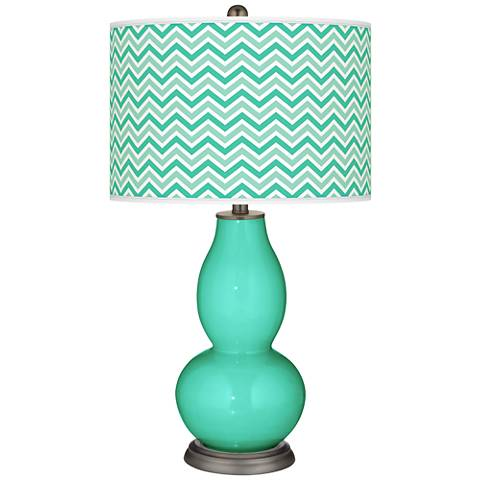 Turquoise Narrow Zig Zag Double Gourd Table Lamp