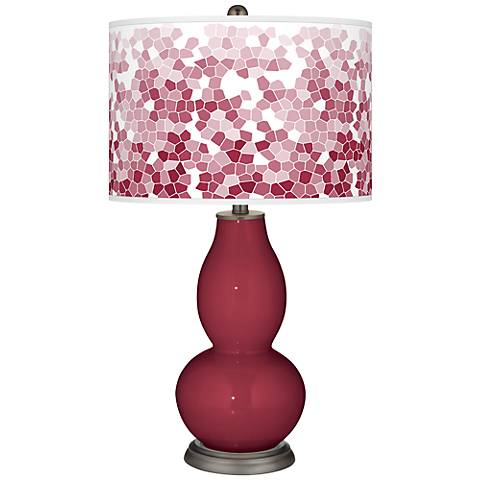 Antique Red Mosaic Giclee Double Gourd Table Lamp