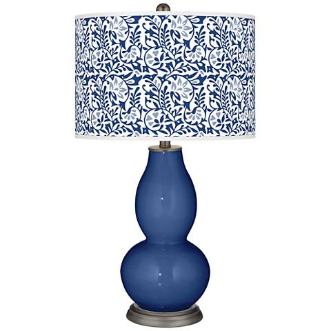 Monaco Blue Gardenia Double Gourd Table Lamp