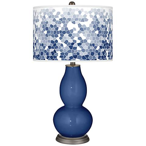 Monaco Blue Mosaic Giclee Double Gourd Table Lamp