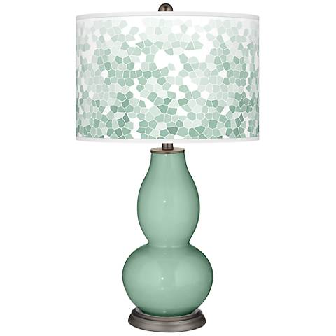 Grayed Jade Mosaic Giclee Double Gourd Table Lamp