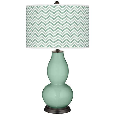 Grayed Jade Narrow Zig Zag Double Gourd Table Lamp