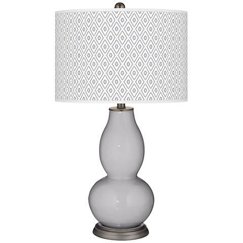Swanky Gray Diamonds Double Gourd Table Lamp