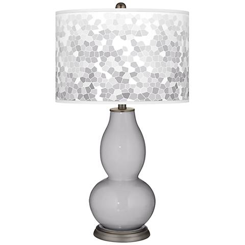 Swanky Gray Mosaic Giclee Double Gourd Table Lamp