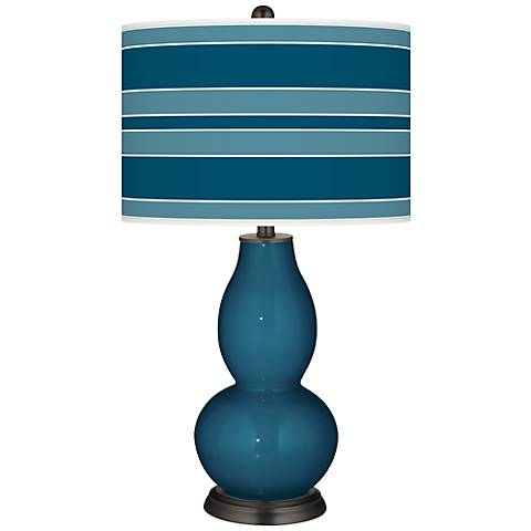 Oceanside Bold Stripe Double Gourd Table Lamp
